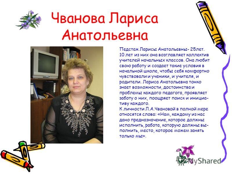 Чванова Лариса Анатольевна Педстаж Ларисы Анатольевны- 25лет. 10 лет из них она возглавляет коллектив учителей начальных классов. Она любит свою работу и создает такие условия в начальной школе, чтобы себя комфортно чувствовали и ученики, и учителя,