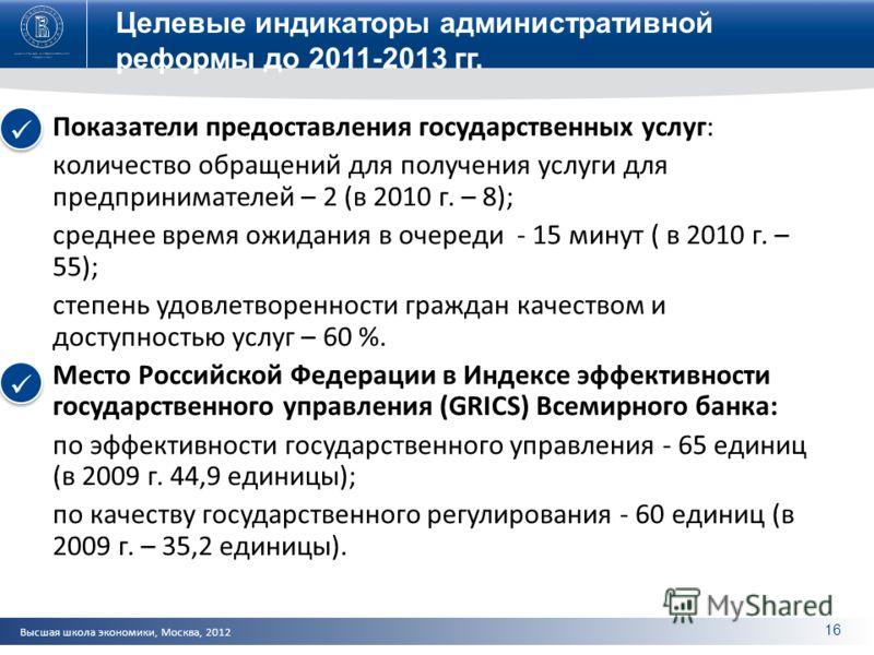 Высшая школа экономики, Москва, 2012 Целевые индикаторы административной реформы до 2011-2013 гг. Показатели предоставления государственных услуг: количество обращений для получения услуги для предпринимателей – 2 (в 2010 г. – 8); среднее время ожида