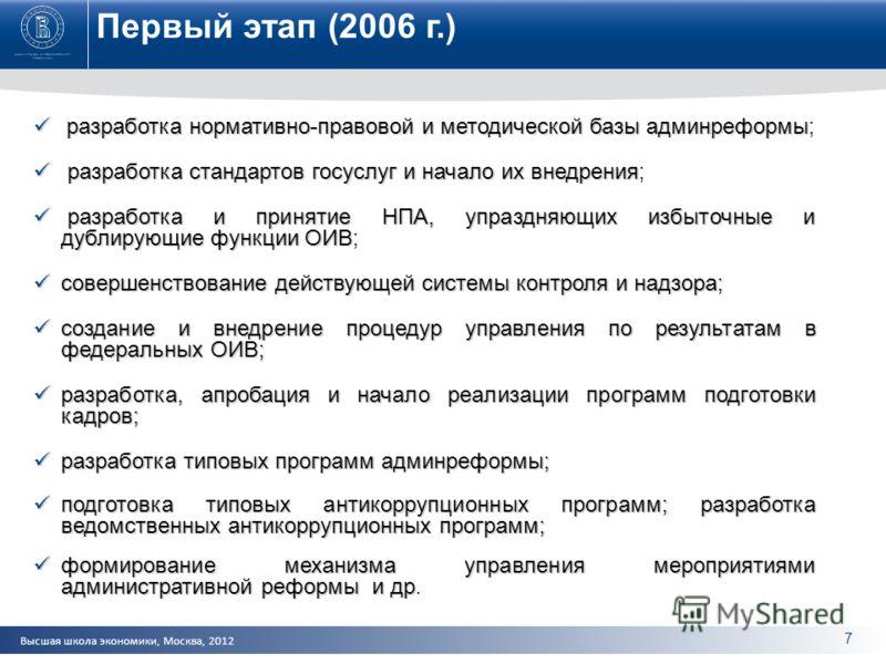 Высшая школа экономики, Москва, 2012 Первый этап (2006 г.) разработка нормативно-правовой и методической базы админреформы разработка нормативно-правовой и методической базы админреформы; разработка стандартов госуслуг и начало их внедрения разработк