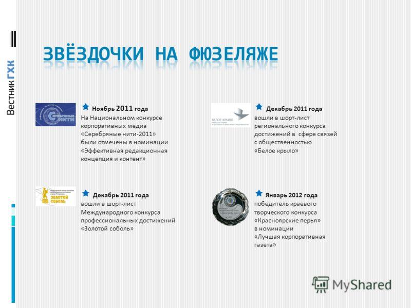Ноябрь 2011 года На Национальном конкурсе корпоративных медиа «Серебряные нити-2011» были отмечены в номинации «Эффективная редакционная концепция и контент» Декабрь 2011 года вошли в шорт-лист Международного конкурса профессиональных достижений «Зол