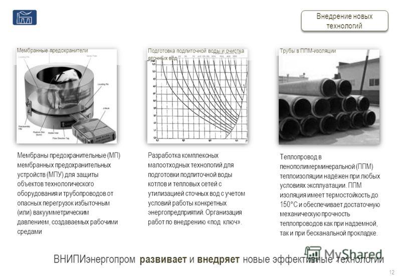 ВНИПИэнергопром развивает и внедряет новые эффективные технологии Трубы в ППМ-изоляции Мембранные предохранители Подготовка подпиточной воды и очистка сточных вод 12 Внедрение новых технологий Мембраны предохранительные (МП) мембранных предохранитель