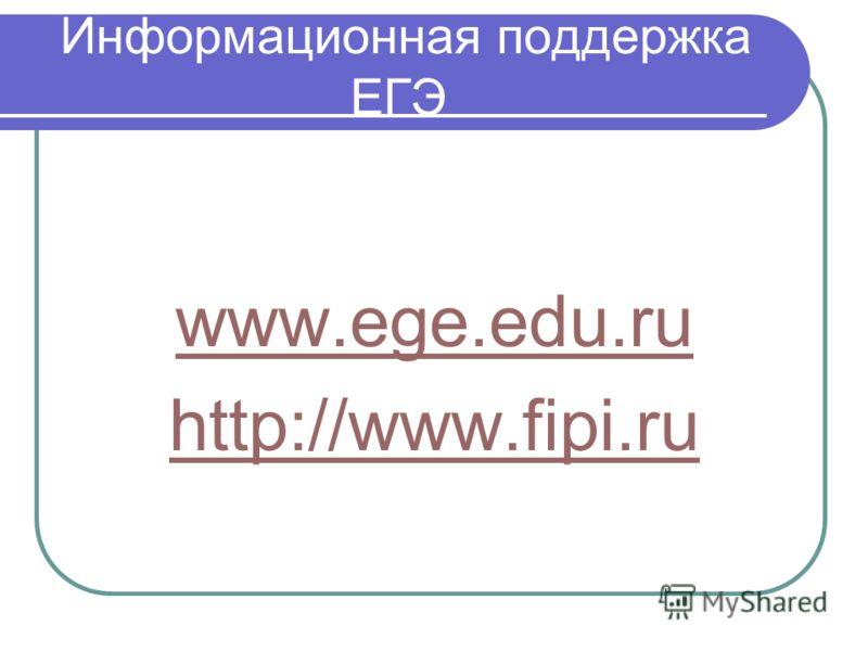 Информационная поддержка ЕГЭ www.ege.edu.ru http://www.fipi.ru