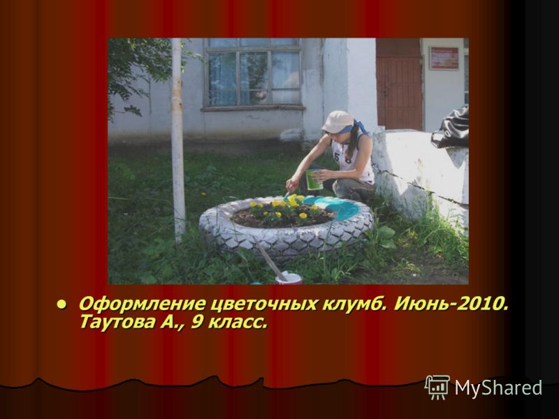Оформление цветочных клумб. Июнь-2010. Таутова А., 9 класс. Оформление цветочных клумб. Июнь-2010. Таутова А., 9 класс.