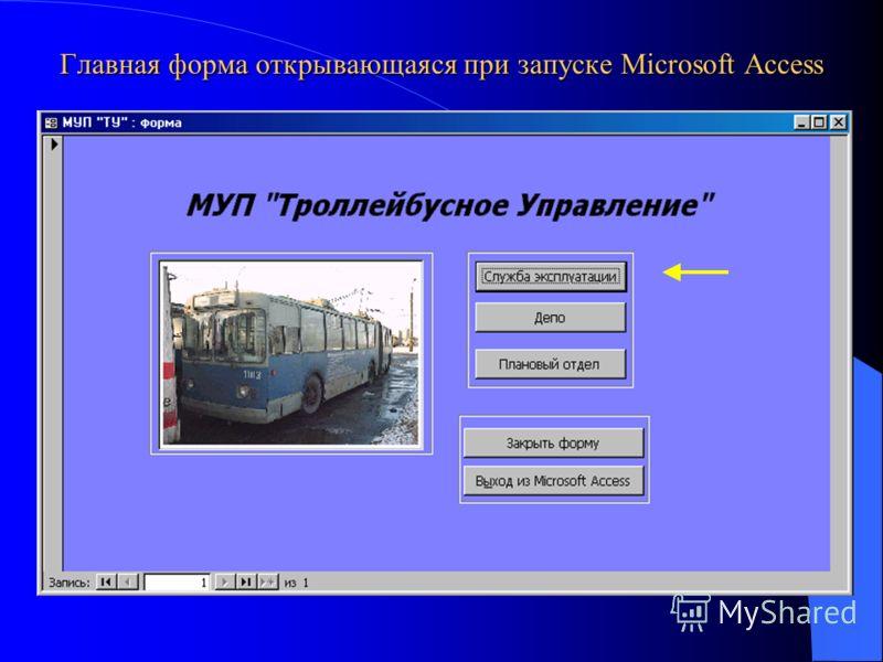 Главная форма открывающаяся при запуске Microsoft Access