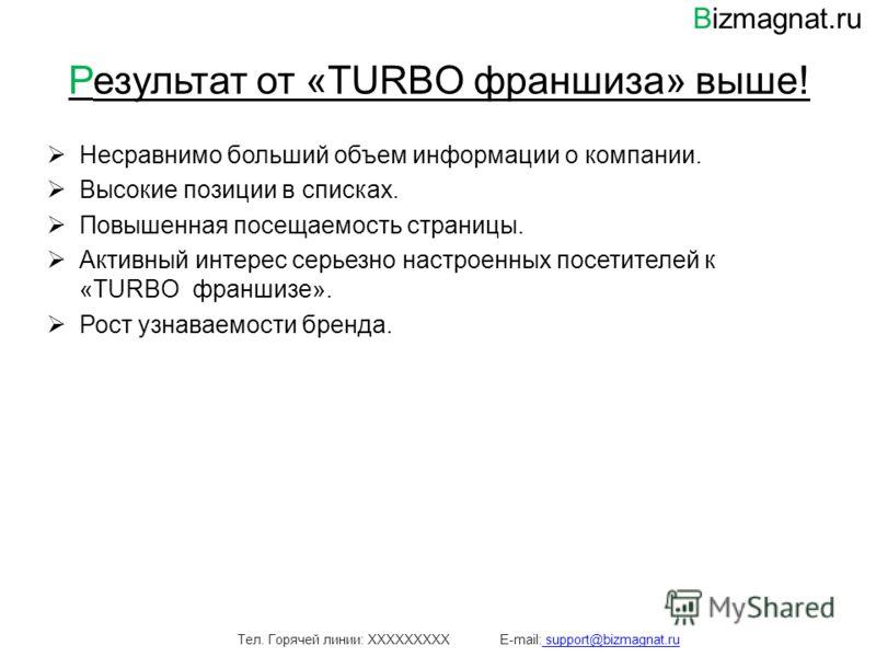 Результат от «TURBO франшиза» выше! Несравнимо больший объем информации о компании. Высокие позиции в списках. Повышенная посещаемость страницы. Активный интерес серьезно настроенных посетителей к «TURBO франшизе». Рост узнаваемости бренда. Тел. Горя