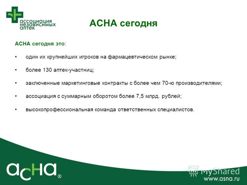 АСНА сегодня АСНА сегодня это: один их крупнейших игроков на фармацевтическом рынке; более 130 аптек-участниц; заключенные маркетинговые контракты с более чем 70-ю производителями; ассоциация с суммарным оборотом более 7,5 млрд. рублей; высокопрофесс