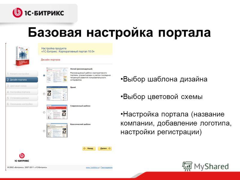 Базовая настройка портала Выбор шаблона дизайна Выбор цветовой схемы Настройка портала (название компании, добавление логотипа, настройки регистрации)