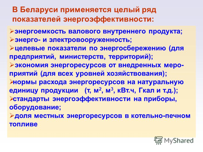 В Беларуси применяется целый ряд показателей энергоэффективности: энергоемкость валового внутреннего продукта; энерго- и электровооруженность; целевые показатели по энергосбережению (для предприятий, министерств, территорий); экономия энергоресурсов