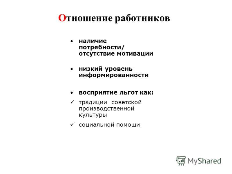 Отношение работников наличие потребности/ отсутствие мотивации низкий уровень информированности восприятие льгот как: традиции советской производственной культуры социальной помощи
