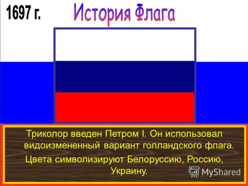 Триколор введен Петром I. Он использовал видоизмененный вариант голландского флага. Цвета символизируют Белоруссию, Россию, Украину.