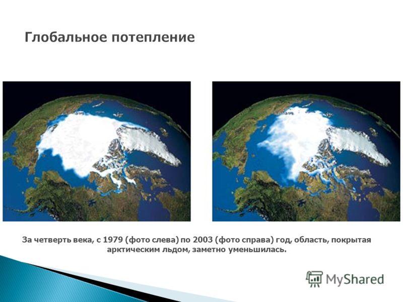 За четверть века, с 1979 (фото слева) по 2003 (фото справа) год, область, покрытая арктическим льдом, заметно уменьшилась.