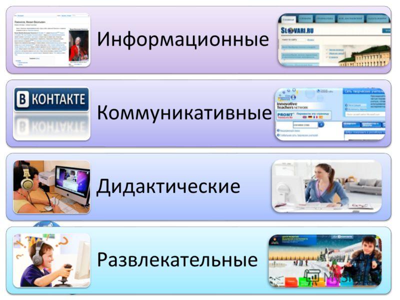 Информационные Коммуникативные Дидактические Развлекательные