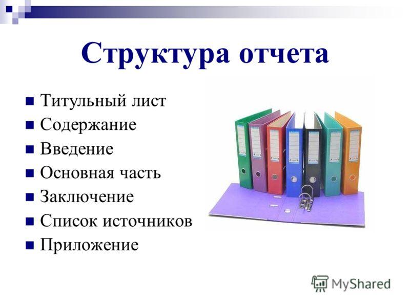 Структура отчета Титульный лист Содержание Введение Основная часть Заключение Список источников Приложение