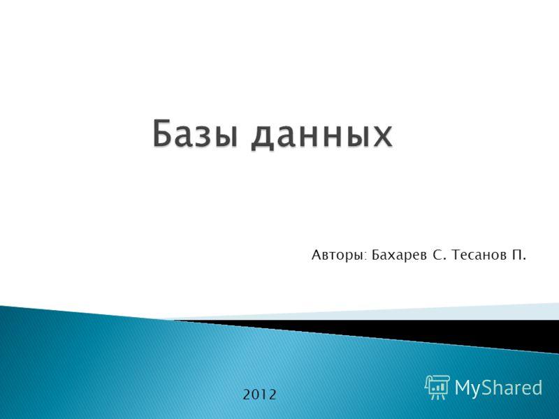 Авторы: Бахарев С. Тесанов П. 2012