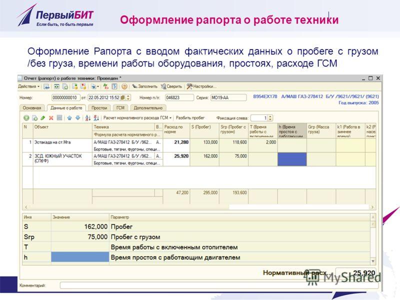 Оформление рапорта о работе техники Оформление Рапорта с вводом фактических данных о пробеге с грузом /без груза, времени работы оборудования, простоях, расходе ГСМ