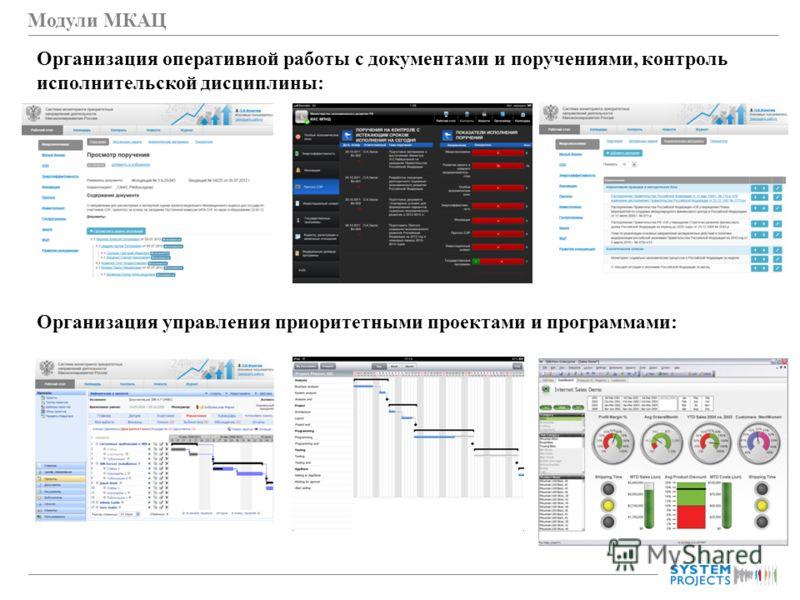 Модули МКАЦ Организация оперативной работы с документами и поручениями, контроль исполнительской дисциплины: Организация управления приоритетными проектами и программами: