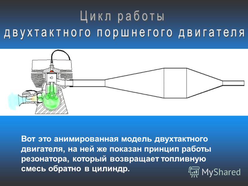 Вот это анимированная модель двухтактного двигателя, на ней же показан принцип работы резонатора, который возвращает топливную смесь обратно в цилиндр.