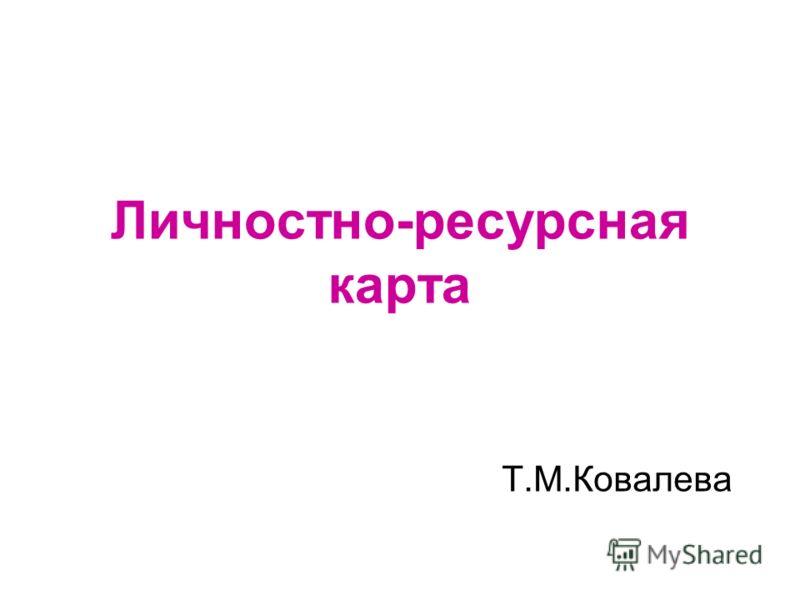 Личностно-ресурсная карта Т.М.Ковалева