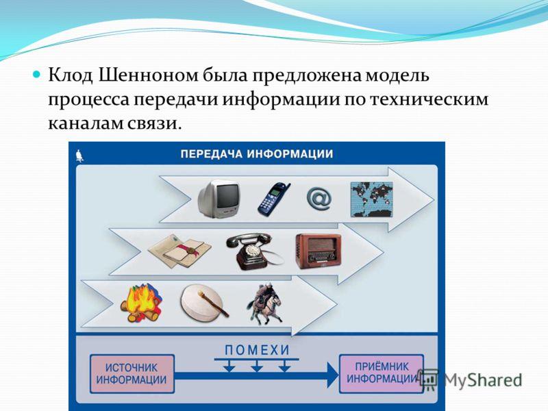 Клод Шенноном была предложена модель процесса передачи информации по техническим каналам связи.