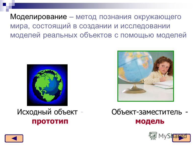 Моделирование – метод познания окружающего мира, состоящий в создании и исследовании моделей реальных объектов с помощью моделей Исходный объект - прототип Объект-заместитель - модель