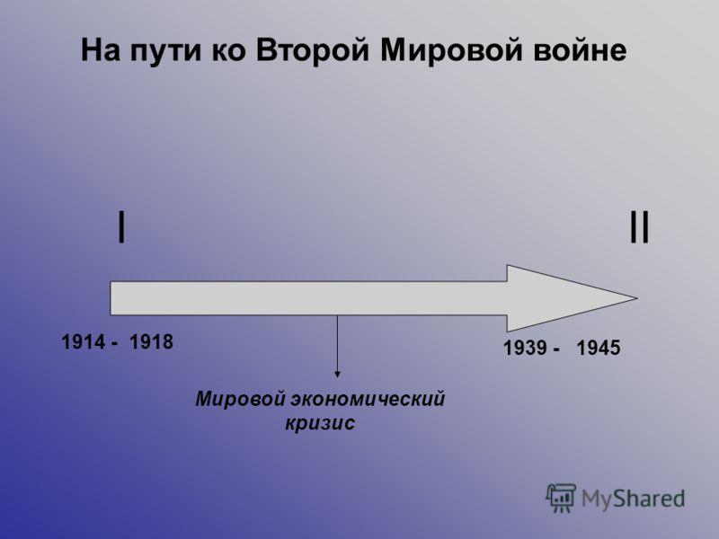 III 1914 - 1939 - 1918 1945 Мировой экономический кризис На пути ко Второй Мировой войне