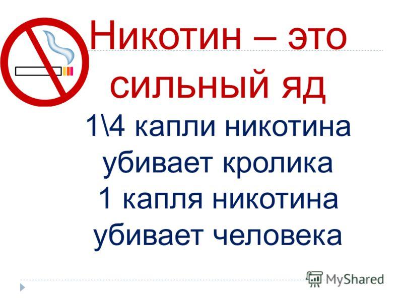 Никотин – это сильный яд 1\4 капли никотина убивает кролика 1 капля никотина убивает человека