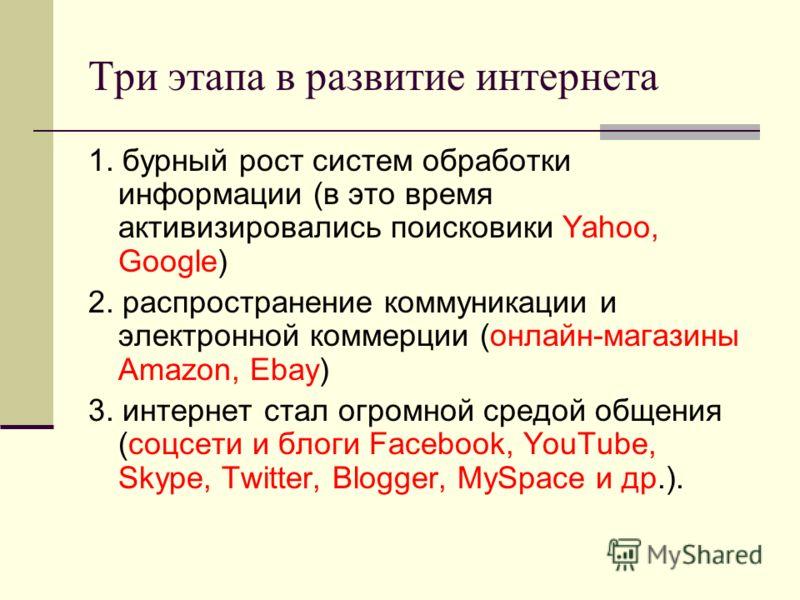 Три этапа в развитие интернета 1. бурный рост систем обработки информации (в это время активизировались поисковики Yahoo, Google) 2. распространение коммуникации и электронной коммерции (онлайн-магазины Amazon, Ebay) 3. интернет стал огромной средой