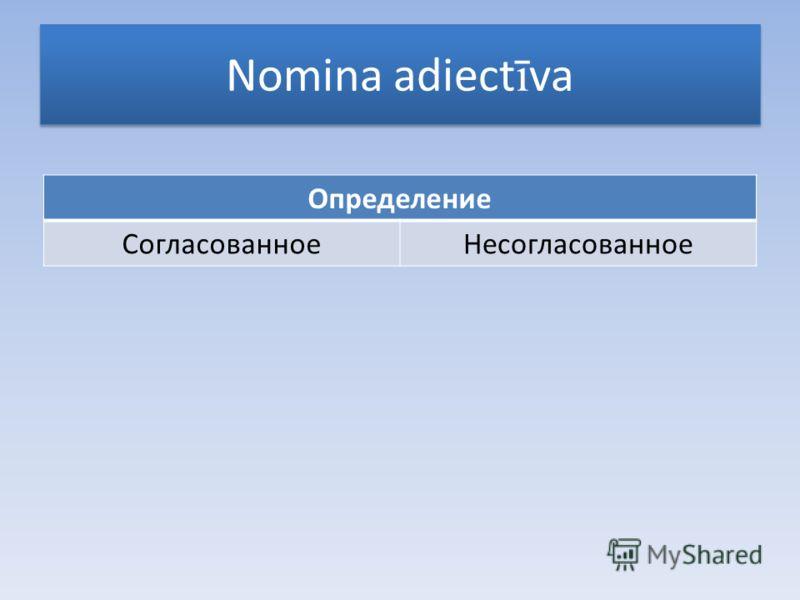Nomina adiect ī va Определение СогласованноеНесогласованное