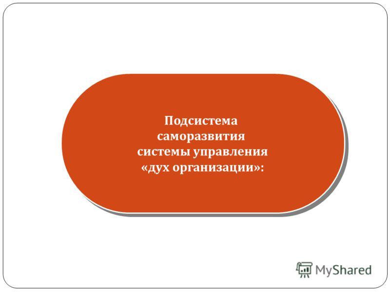 Подсистема саморазвития системы управления « дух организации »: Подсистема саморазвития системы управления « дух организации »: