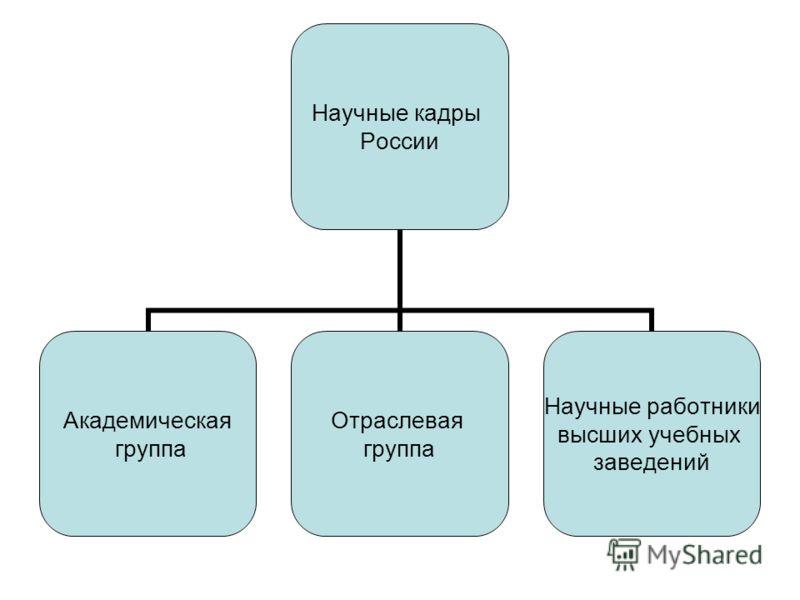 Научные кадры России Академическая группа Отраслевая группа Научные работники высших учебных заведений