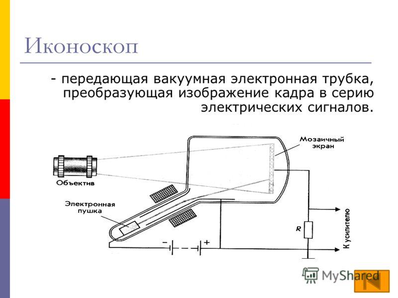 Иконоскоп - передающая вакуумная электронная трубка, преобразующая изображение кадра в серию электрических сигналов.