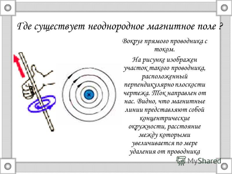 Где существует неоднородное магнитное поле ? Вокруг прямого проводника с током. На рисунке изображен участок такого проводника, расположенный перпендикулярно плоскости чертежа. Ток направлен от нас. Видно, что магнитные линии представляют собой конце