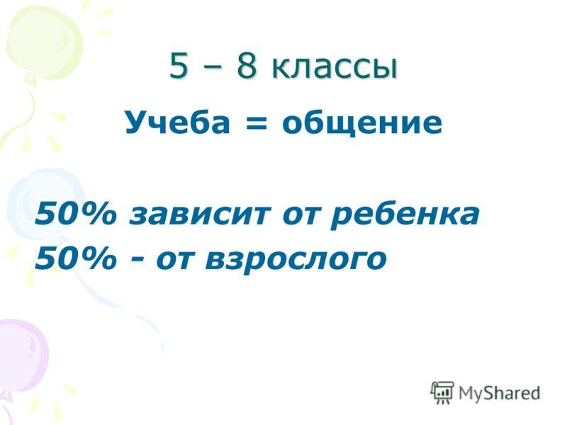 5 – 8 классы Учеба = общение 50% зависит от ребенка 50% - от взрослого