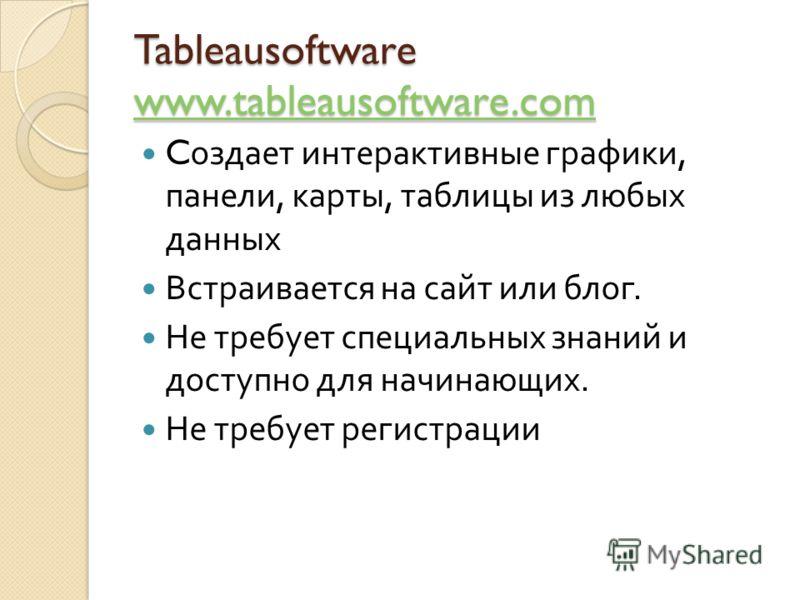 Tableausoftware www.tableausoftware.com www.tableausoftware.com C оздает интерактивные графики, панели, карты, таблицы из любых данных Встраивается на сайт или блог. Не требует специальных знаний и доступно для начинающих. Не требует регистрации