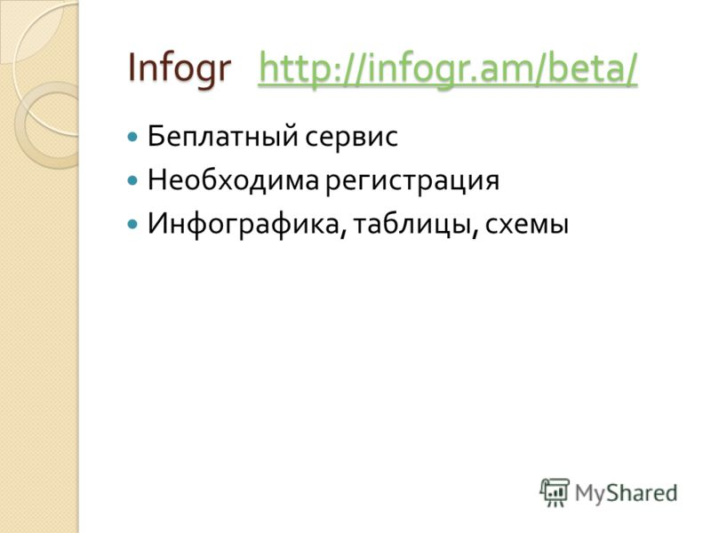 Infogr http://infogr.am/beta/ Infogr http://infogr.am/beta/http://infogr.am/beta/ Беплатный сервис Необходима регистрация Инфографика, таблицы, схемы
