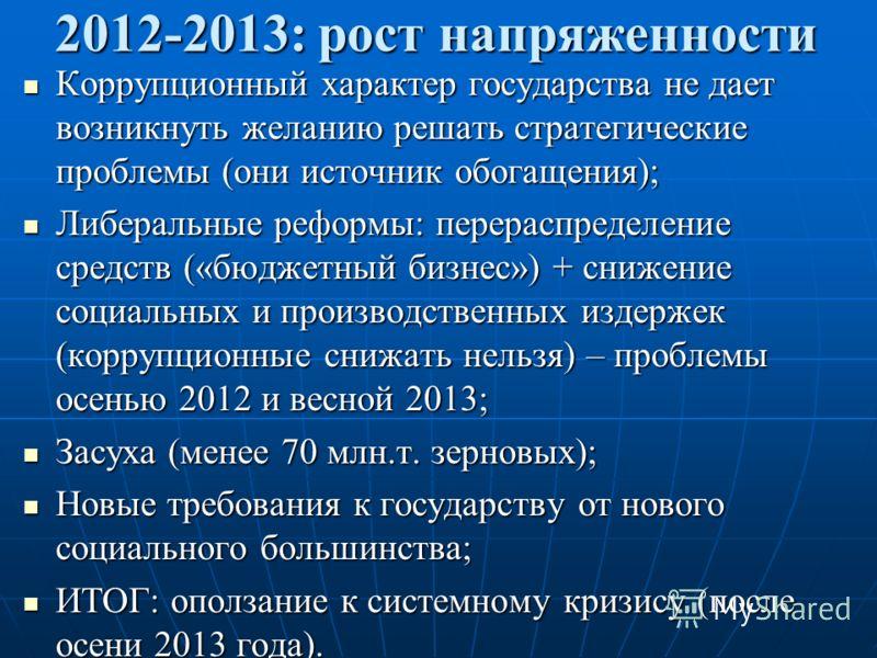 2012-2013: рост напряженности Коррупционный характер государства не дает возникнуть желанию решать стратегические проблемы (они источник обогащения); Коррупционный характер государства не дает возникнуть желанию решать стратегические проблемы (они ис