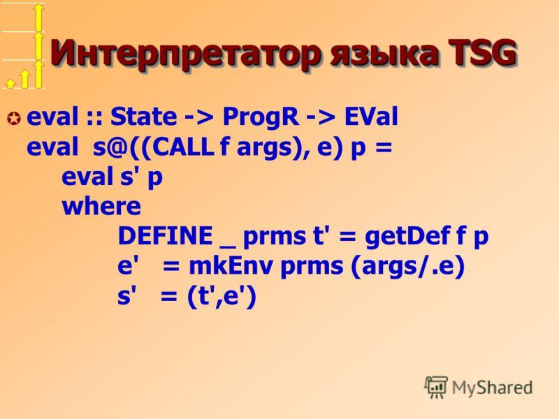 Интерпретатор языка TSG µ eval :: State -> ProgR -> EVal eval s@((CALL f args), e) p = eval s' p where DEFINE _ prms t' = getDef f p e' = mkEnv prms (args/.e) s' = (t',e')