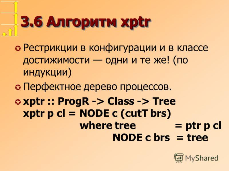 3.6 Алгоритм xptr µ Рестрикции в конфигурации и в классе достижимости одни и те же! (по индукции) µ Перфектное дерево процессов. µ xptr :: ProgR -> Class -> Tree xptr p cl = NODE c (cutT brs) where tree = ptr p cl NODE c brs = tree