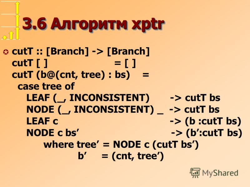 3.6 Алгоритм xptr µ cutT :: [Branch] -> [Branch] cutT [ ] = [ ] cutT (b@(cnt, tree) : bs) = case tree of LEAF (_, INCONSISTENT) -> cutT bs NODE (_, INCONSISTENT) _ -> cutT bs LEAF c -> (b :cutT bs) NODE c bs -> (b:cutT bs) where tree = NODE c (cutT b