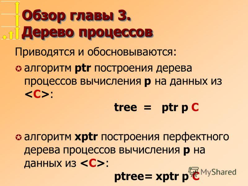 Обзор главы 3. Дерево процессов Приводятся и обосновываются: µ алгоритм ptr построения дерева процессов вычисления p на данных из : tree = ptr p C µ алгоритм xptr построения перфектного дерева процессов вычисления p на данных из : ptree= xptr p C