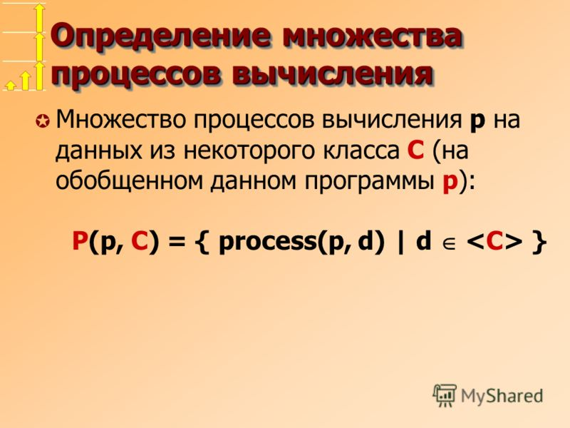 Определение множества процессов вычисления µ Множество процессов вычисления p на данных из некоторого класса C (на обобщенном данном программы p): P(p, C) = { process(p, d) | d }
