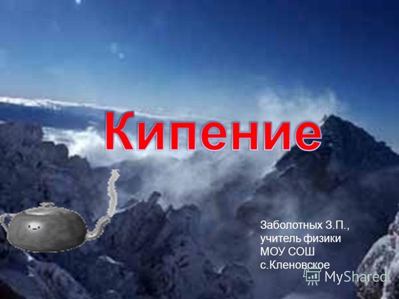 Заболотных З.П., учитель физики МОУ СОШ с.Кленовское
