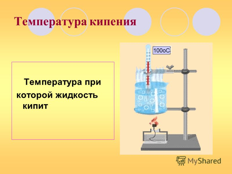 Температура кипения Температура при которой жидкость кипит 100оС