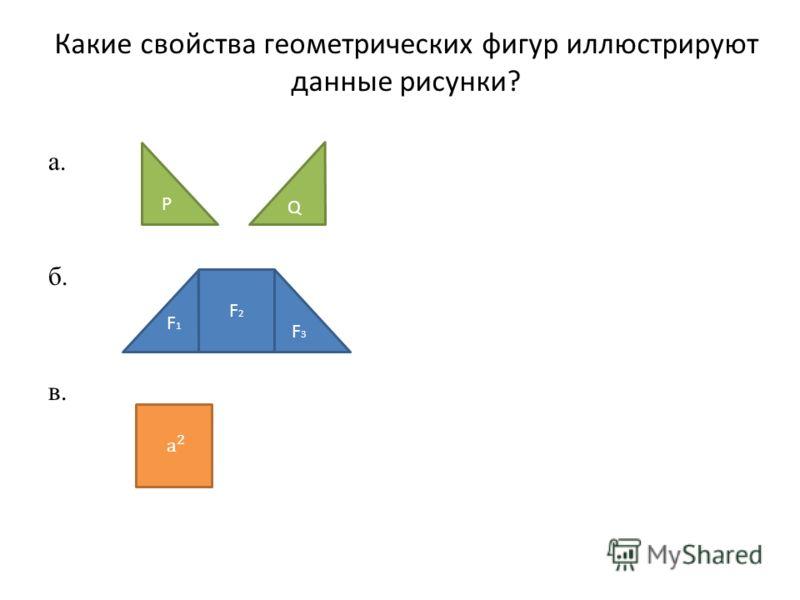 Какие свойства геометрических фигур иллюстрируют данные рисунки? а. б. в. P Q F 1 F3F3 F2F2