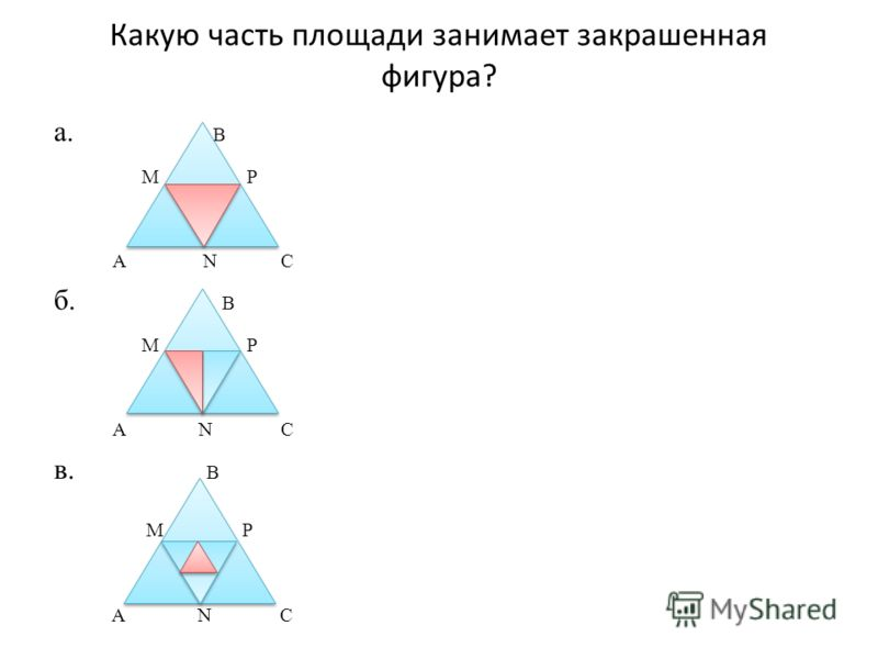 Какую часть площади занимает закрашенная фигура? а. B M P A N C б. B M P A N C в. B M P A N C