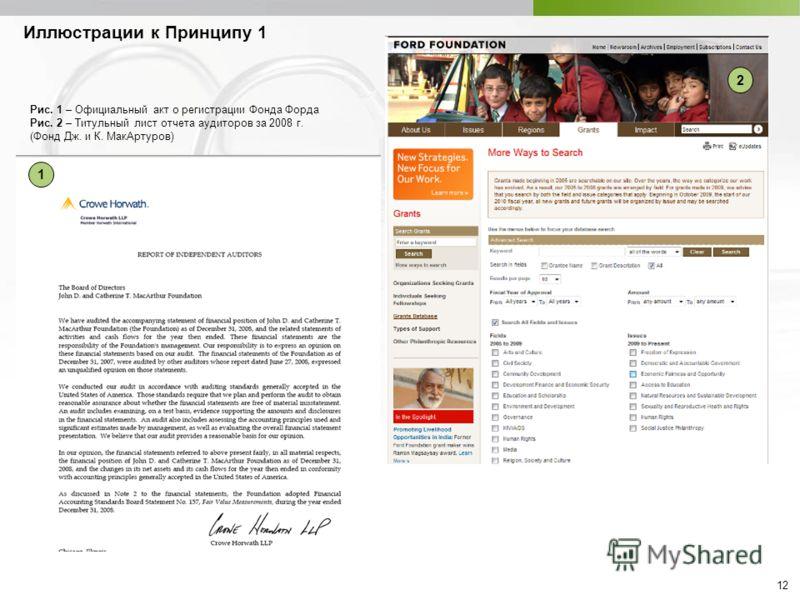 12 1 2 Рис. 1 – Официальный акт о регистрации Фонда Форда Рис. 2 – Титульный лист отчета аудиторов за 2008 г. (Фонд Дж. и К. МакАртуров) Иллюстрации к Принципу 1
