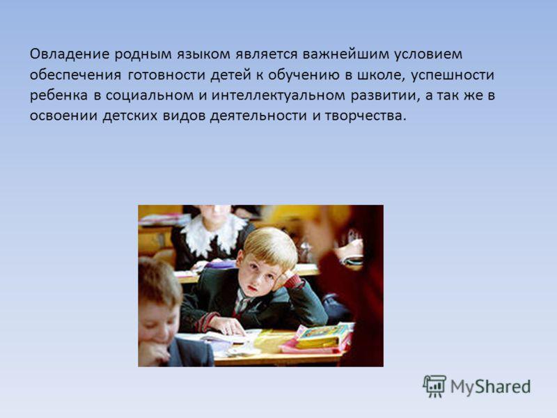 Овладение родным языком является важнейшим условием обеспечения готовности детей к обучению в школе, успешности ребенка в социальном и интеллектуальном развитии, а так же в освоении детских видов деятельности и творчества.
