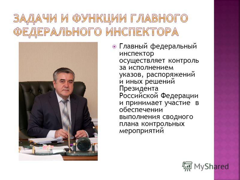 Главный федеральный инспектор осуществляет контроль за исполнением указов, распоряжений и иных решений Президента Российской Федерации и принимает участие в обеспечении выполнения сводного плана контрольных мероприятий
