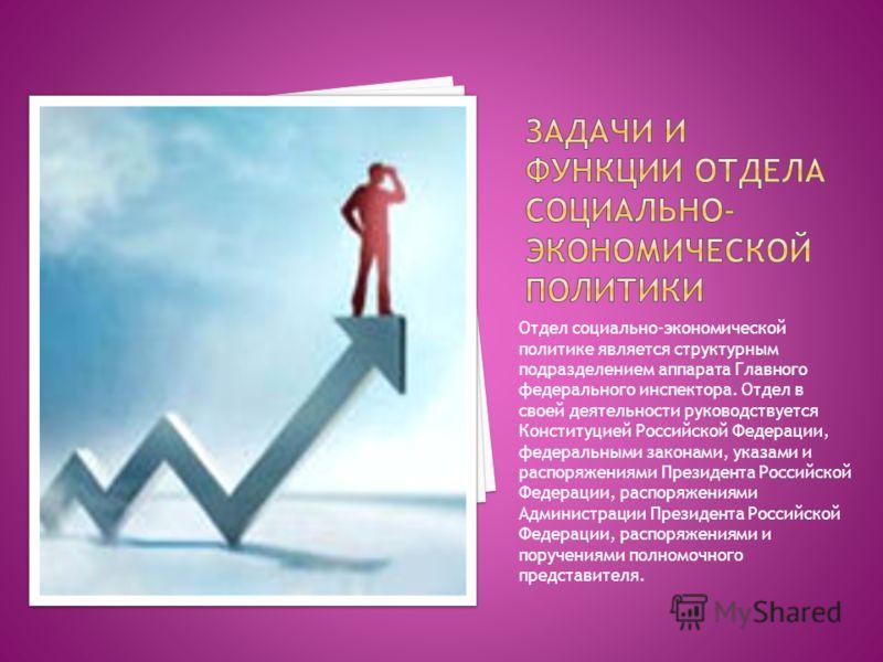Отдел социально-экономической политике является структурным подразделением аппарата Главного федерального инспектора. Отдел в своей деятельности руководствуется Конституцией Российской Федерации, федеральными законами, указами и распоряжениями Презид