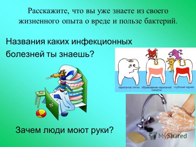 Расскажите, что вы уже знаете из своего жизненного опыта о вреде и пользе бактерий. Названия каких инфекционных болезней ты знаешь? Зачем люди моют руки?